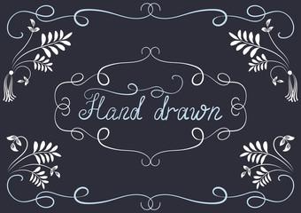 Hand drawn design elements and corner ornament