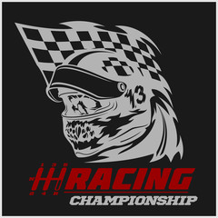 Vintage Skull Checkered Flags Racing
