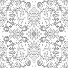 Vector tile oriental floral seamless doodle, ethnic drawing arabic pattern floral ancient, arabesque floral curled pattern tile, black and white colors