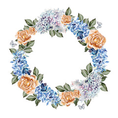 Beautiful watercolor card with roses flower and hydrangea . Wedding wreath.
