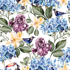 Colorful watercolor pattern with flowers hydrangea , hibiscus , iris and bird .