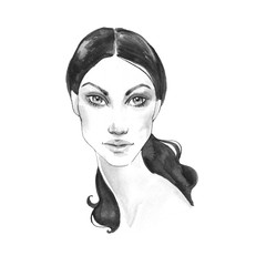 Black and white fashion sketch. Watercolor female face