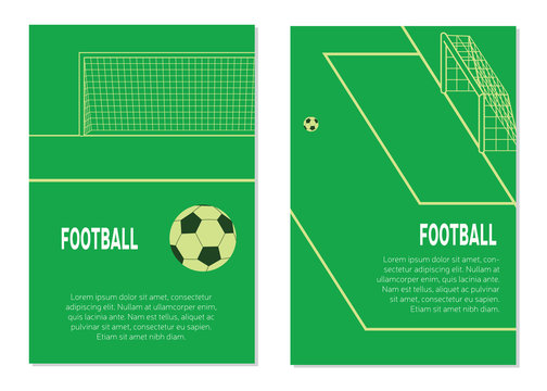 Soccer / Football Ball On The Penalty Spot At The Stadium. Different View Posters. Flat Vector Illustration