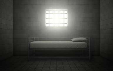 Prison cell with light shining through a barred window