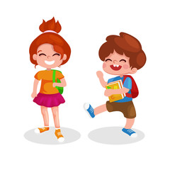 Back to school. illustration of kids going to school