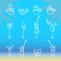 Set of glassware for beverages. The collection includes cocktails, glasses and cups. Vector illustration. The EPS format.