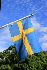 Schwedische Flagge im Wind (Stockholm)
