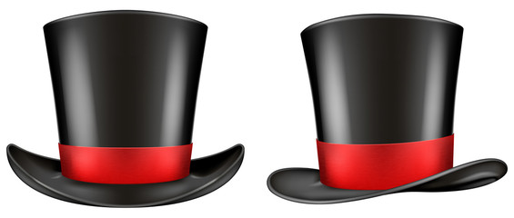 Black top hat with red ribbon. Frontal and three quarter views. Vector illustration.