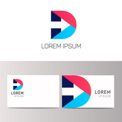 D letter logo company sign vector design