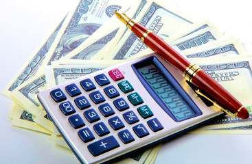 Image the money with calculator and financial tables  numbers