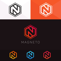 Abstract N letter logo company clean icon line art vector design