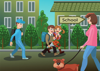 Children are on the way to school/ Children are going to school, around them people go about their business, they are happy talk, and bring flowers to give to your favorite teacher!