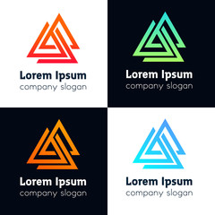 Abstract triangle company icon sign. Vector polygon emblem