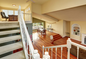 Panoramic view of two levels dining room