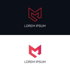 Line art M letter company logo icon vector design