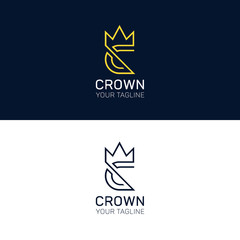 C letter logo crown sign vector element icon. Label brand identi