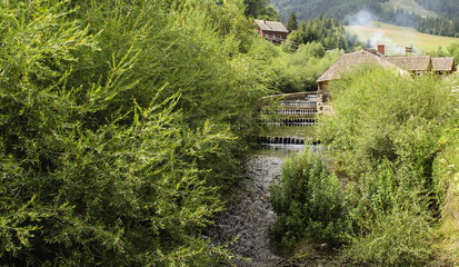 stormy mountain river in the Ukrainian Carpathians