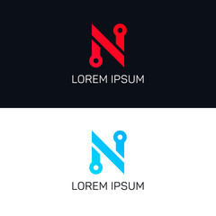 Abstract company N letter sign vector icon logo design