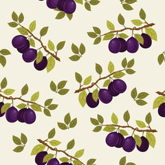 Seamless pattern with plum branches