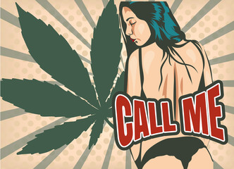 Hot girl back undressing vector pic with cannabis leaf