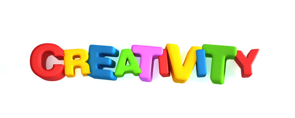 Creativity Word Banner. 3D Rendering Illustration
