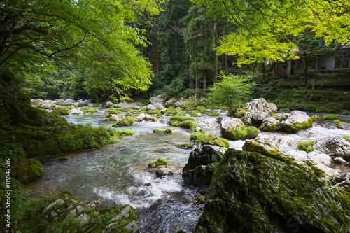 愛媛県内子町 小田深山渓谷 深山荘前の風景