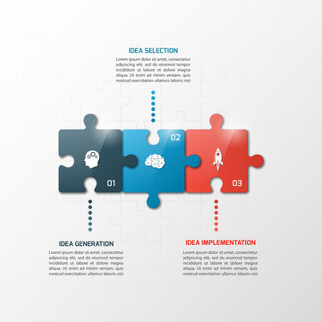 Vector 3 steps puzzle style timeline infographic template. Business concept.