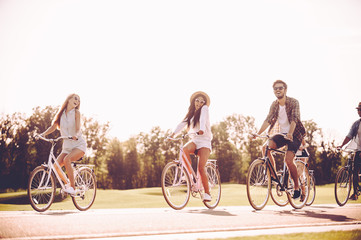 Cycling together is fun.