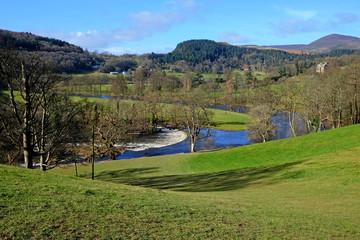 The horseshoe falls,  a shaped weir on the RiverDee near Llangollen, Wales.