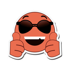 flat design sunglasses cool emoticon icon vector illustration