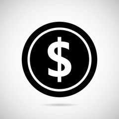 Money icon on gray background. Vector art.