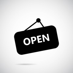 Open sign icon on gray background. Vector art.