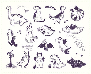 Funny cartoon dragon set, dinosaurs ink sketches collection. Doodle fantastic characters. Hand drawn vector illustration.