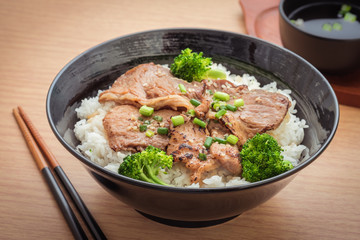 Roasted pork with stir fried broccoli and japanese rice in bowl, filtered image