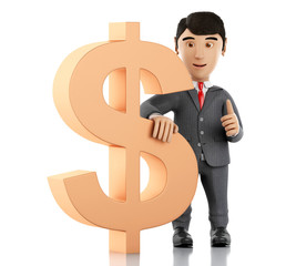 3d Businessman with a dollar sign. Business concept.