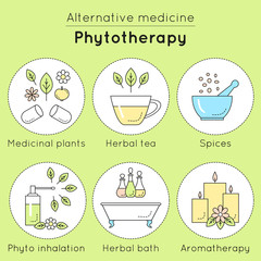 Vector set of phytotherapy linear icons. Medicinal plants, herbal tea, spices, phyto inhalation, herbal bath, aromatherapy as tools of alternative medicine.