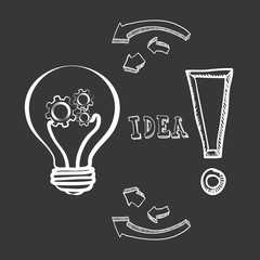 bulb gears big and great idea creativity icon set. Sketch and draw design. Vector illustration