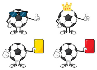 Soccer Ball Faceless Cartoon Mascot Character 6. Collection Set Isolated On White Background