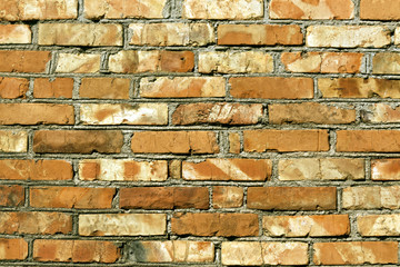 Grungy red brick wall texture.