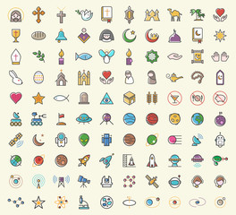 Set of 100 Minimalistic Solid Line Coloured Christian , Islamic and Space Icons. Isolated Vector Elements.