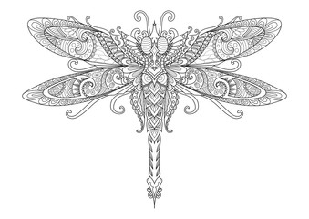 Doodles design of dragonfly for tattoo,design element, T-Shirt graphic and adult coloring book pages - Stock vector
