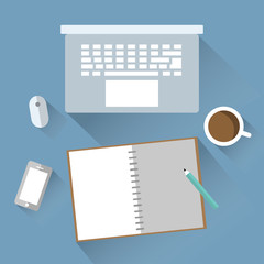 Laptop and notebook flat design