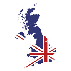 flat design great britain map and flag icon vector illustration