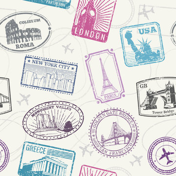 Famous world monuments and landmarks pattern