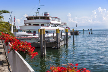 Cruise Ship, Port and Landing Jetties at Meersburg, beautiful Town; Bodensee