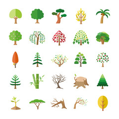 Trees color vector icons