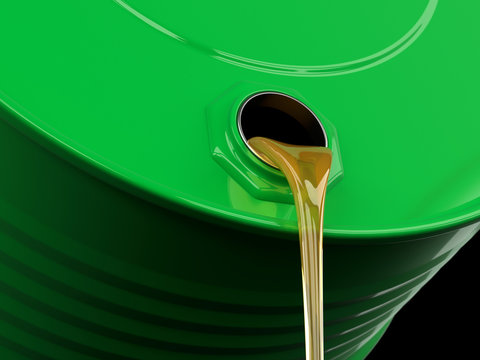 Pouring motor oil or gasoline