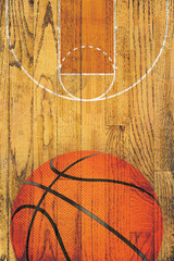 Vintage Basketball Hardwood Floor Background