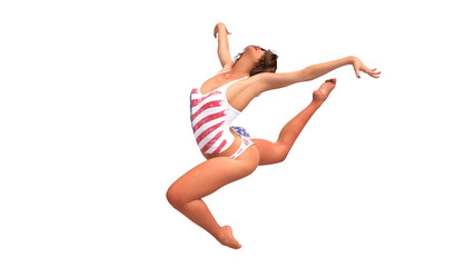 American gymnast jumping, girl training gymnastics on white background