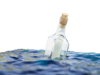 Glass bottle with letter in the sea